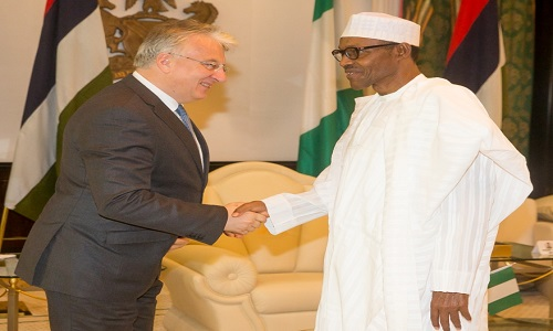 PRESIDENT BUHARI WELCOMING VICE PRIME MINISTER/DEPUTY HEAD OF GOVERNMENT OF HUNGARY DR SEMJEN ZSOLF LEADER OF HUNGARIAN DELEGATION DURING COURTESY CALL TO THE PRESIDENT AT THE PRESIDENTIAL VILLA.