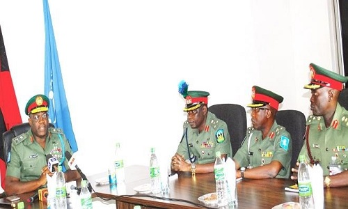 FROM LEFT: THE GOC 1 DIVISION, MAJ.-GEN. ADENIYE OYEBADE, BRIG-GEN. EMMANUEL B. BABUK , BRIG.-GEN. BABA M. IBRAHIM AND BRIG.-GEN. SUNDAY S. ARAOYE, AT THE INAUGURATION OF A FIVE-MAN PANEL TO INVESTIGATE THE MILITARY'S INVOLVEMENT DURING THE 2015 GENERAL ELECTION, IN KADUNA YESTERDAY.