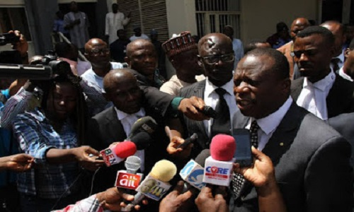 BUKOLA SARAKI'S LAWYER AT THE TRIBUNAL ON THURSDAY SPEAKING TO REPORTERS AFTER THE WALKOUT
