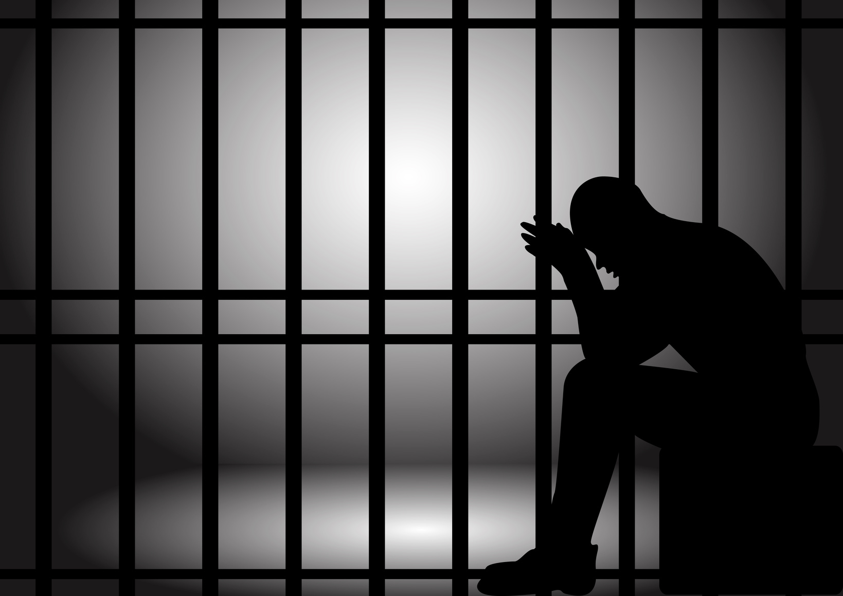 Vector illustration of a man lock up in prison