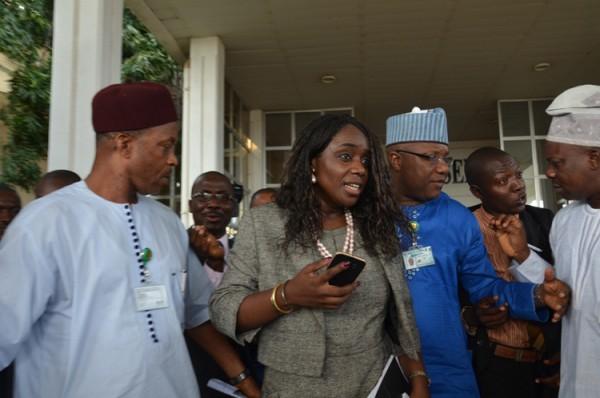 Mrs Kemi Adeosun at the Senate for Ministerial Screening . Photo by Gbemiga Olamikan