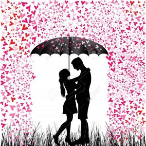 21490421-Kissing-couple-heart-rain-Man-and-woman-in-love-Valentine-day-background-Young-people-under-umbrella-Stock-Vector