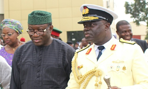 Kayode Fayemi-Commandant of the National Defence College-Rear Admiral S.I. Alade