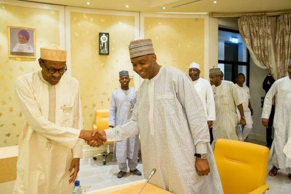 buhari-meets-saraki-and-dogara-over-budget