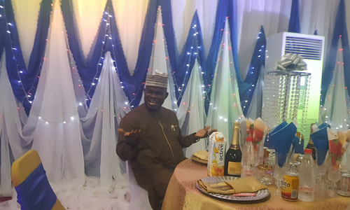 Gov. Yahaya Bello expressing surprise at the birthday party thrown for him last weekend in Lokoja.