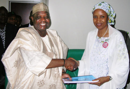 L-R: OUT-GONE MANAGING DIRECTOR, NIGERIAN PORTS AUTHORITY (NPA) MR. HABIB ABDULLAHI (L) HANDING-OVER TO HIS SUCCESSOR, HADIZA BALA USMAN, IN LAGOS, ON MONDAY (18/7/16) 5146/18/07/2016/WAS/HF/NAN
