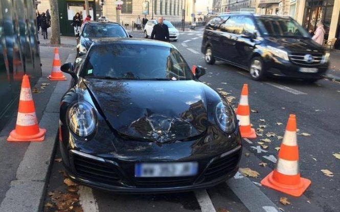 parked porsche carrera blown by paris bomb squad