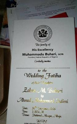 Invitation Cards Of Zahra Buhari S Wedding To Mohammed