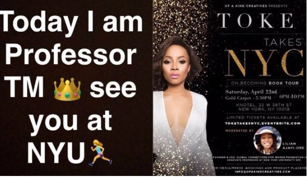 Toke Makinwa In Deep P0o For Allegedly Misleading Fans About Being Guest Lecturer In NY University