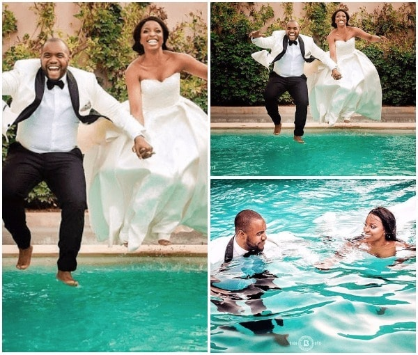 viral photos of couple who jumped into swimming pool after wedding information nigeria. Black Bedroom Furniture Sets. Home Design Ideas