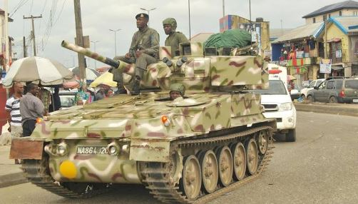 armour - Biafra: Watch Video As Army Deploys Armored Tanks To The South-East Because Of Nnamdi Kalu