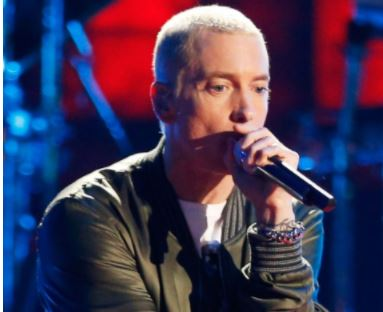"For the first time in four years, Eminem returns to perform at the MTV EMAs with his new single ""walk on water"""