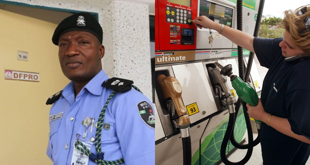 Police PPRO, Jmoh Moshood and lady making phone call at filling station (Credit:.transport executive)
