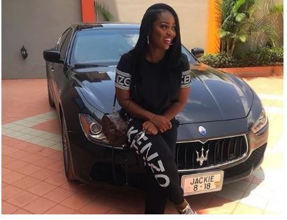 Ghanaian actress, Jackie Appiah shows off her newly acquired Maserati