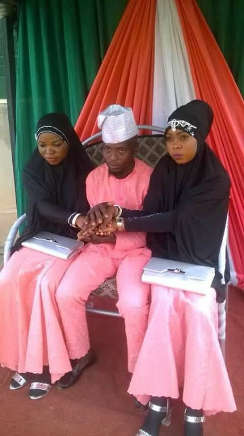 Nigerian Young Man Marries Two Wives On The Same Day. (See Wedding Photo)
