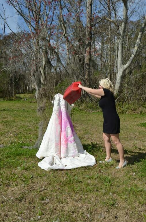 Woman Sets Fire To Her Own Wedding Dress In Broad Daylight…You Won't Believe Why (Photos)