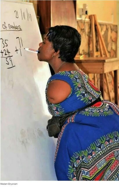 Armless Mathematics Teacher Writing With Her Teeth Goes Viral (See Photo)