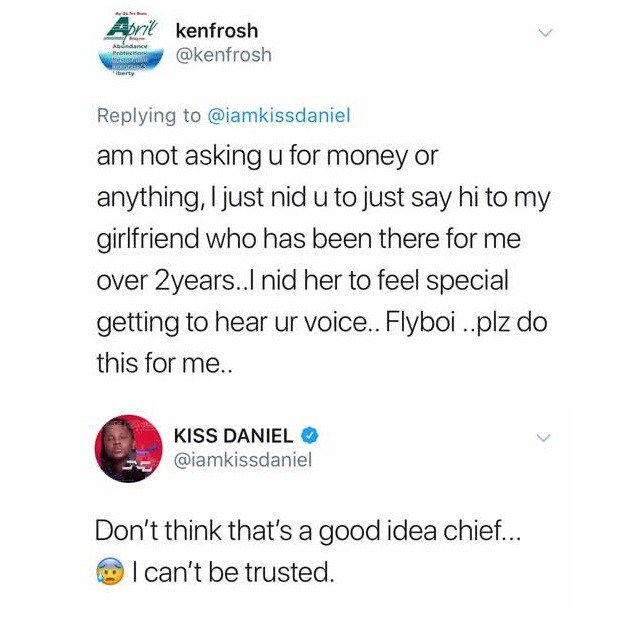 """I can't be trusted"""" – Kiss Daniel warns fan who wants him to greet"""