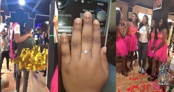Man Engages Girlfriend With Diamond Ring & N2million Cheque (Photos)