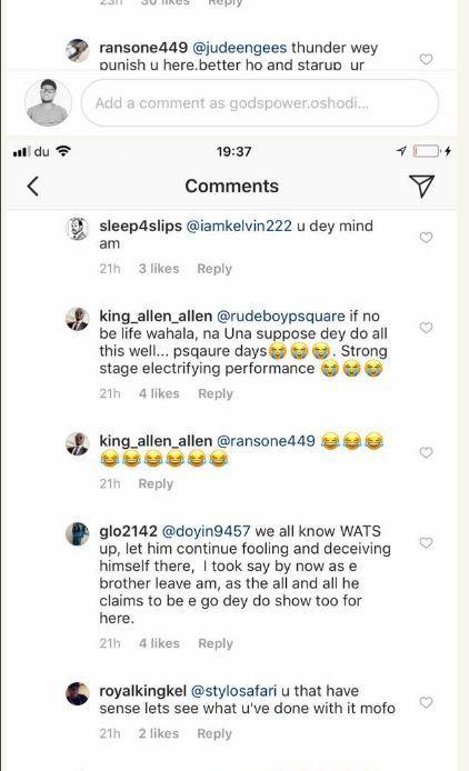 fans slam jude okoye for splitting psquare after he commented on wizkids post 2