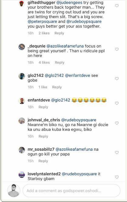 fans slam jude okoye for splitting psquare after he commented on wizkids post 4