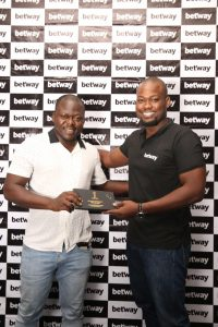Betway Country Manager Lere Awokoya and Winner Adebesin Adewunmi 2 JPG e1529613459590 200x300 - Betway Rewards Buyer with All-Expense Paid Journey to Watch Nigeria in Russia
