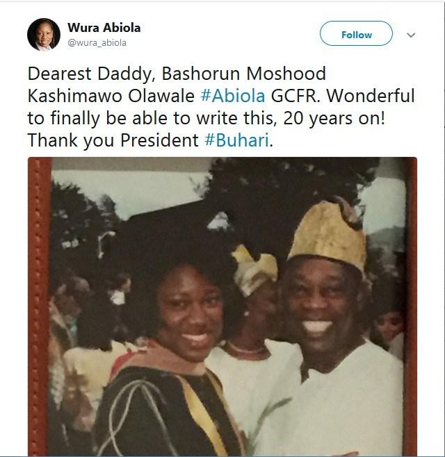 mko abiolas daughter hafsat reacts to president buhari declaring june 12th democracy day 1