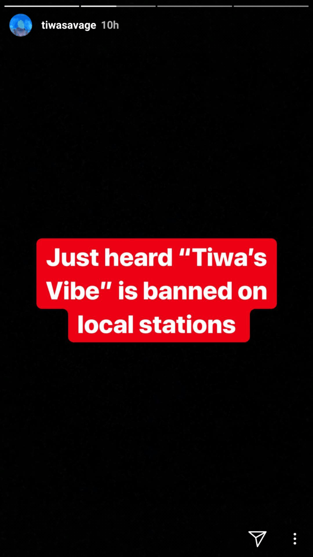tiwa savage reacts after her song got banned