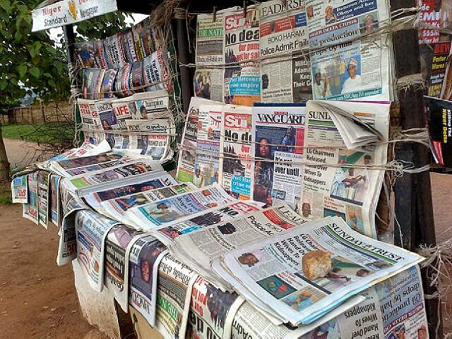 Newspaper stand - Nigerian Newspaper Headlines Today: 12th June