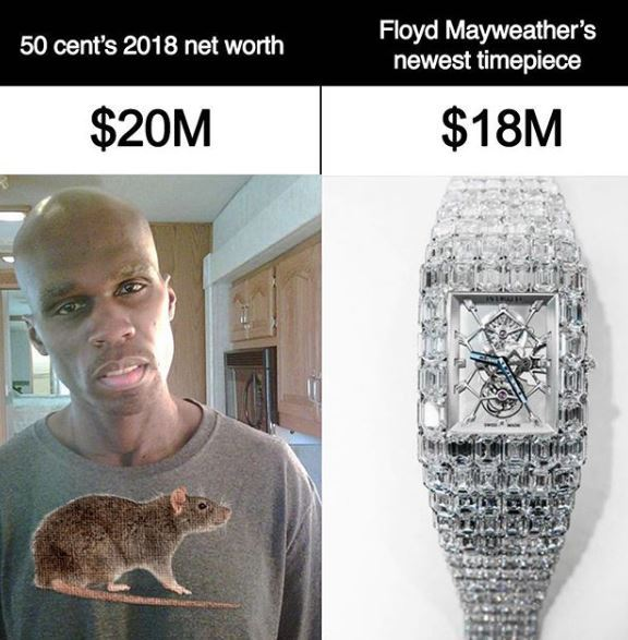 floyd mayweather slams 50 cent again compares his net worth to his 18m wristwatch