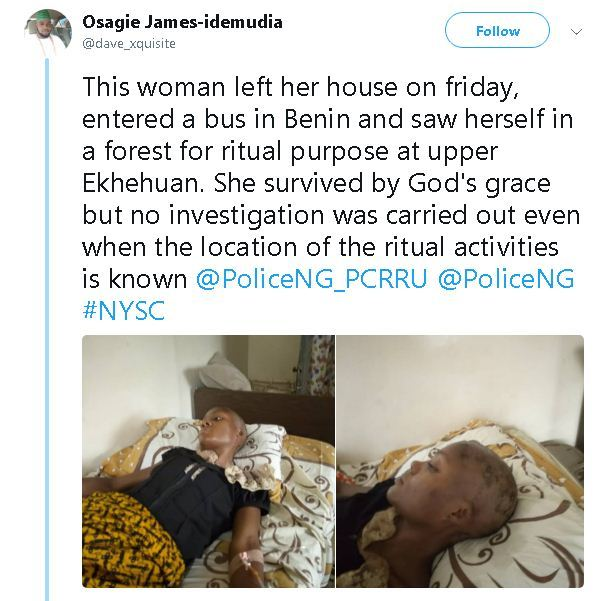 Lady's life saved after she was rejected by ritualists in Edo State
