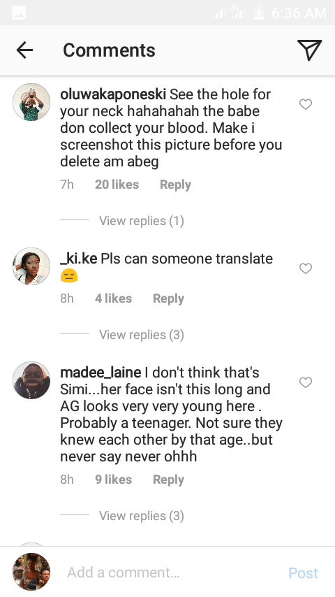 simi reacts to adekunle golds loved up throwback photo with a mystery girl 2