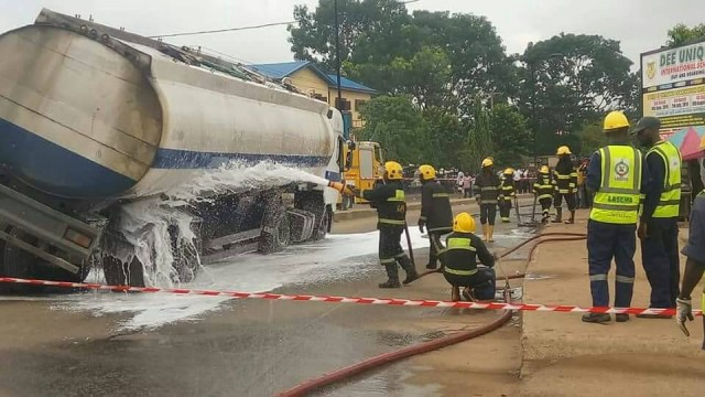Tragedy averted as tanker filled with Diesel almost falls