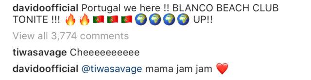 davido and tiwa savage re unite on instagram 2
