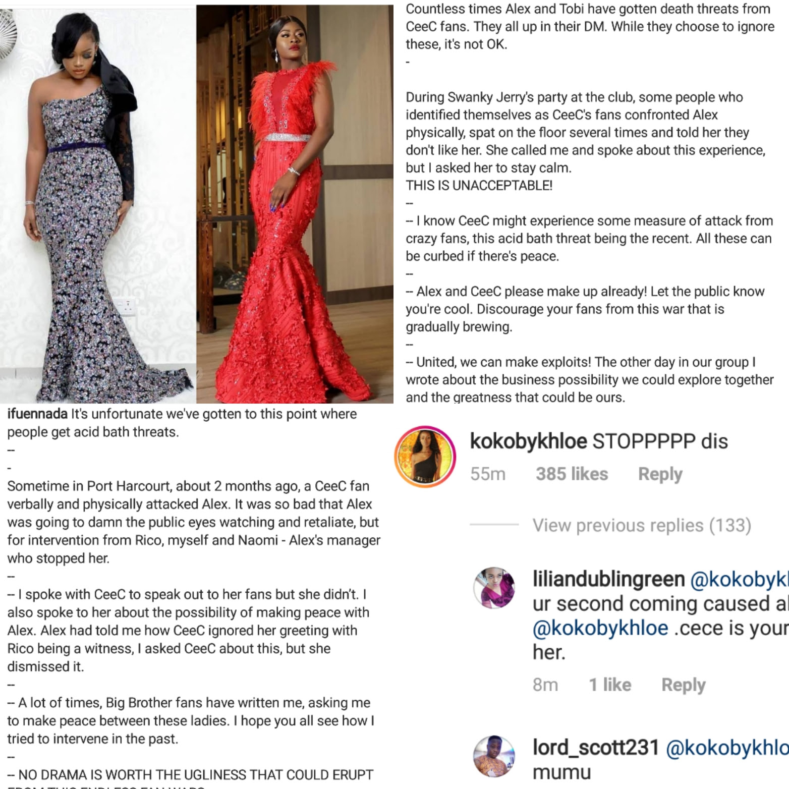 Ifu Ennada apologizes over Cee-C acid threat post
