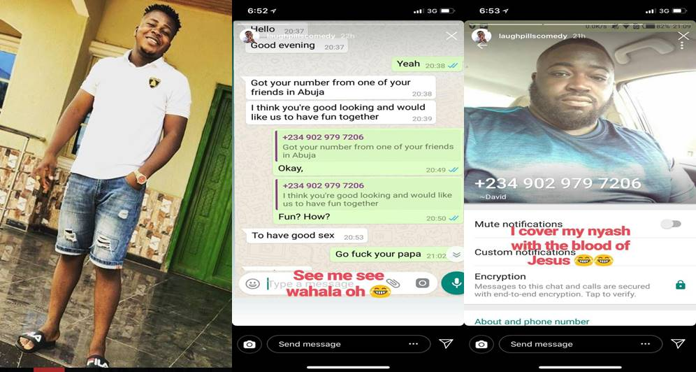 IG comedian, Laughpillscomedy shares screenshot of his chat with a man who wants to have sex with him