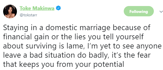 """""""staying In A Marriage Because Of Financial Gain Is Lame"""" — Toke Makinwa Advice Women"""