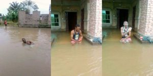 nigerian man takes a bath swims in massive flood that overtook his home photos 300x150 - Tragic!!! 2 People Drowned and died while Asleep Inside Their Homes [Video]