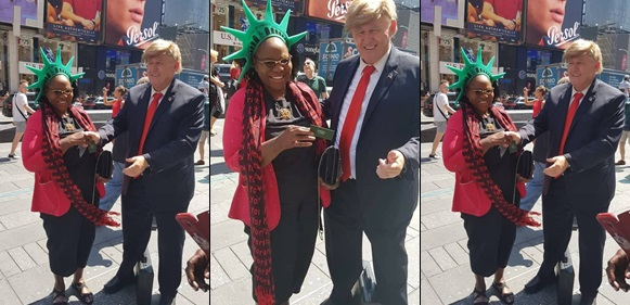 Fayose's Mother Spotted With Donald Trump Lookalike In USA