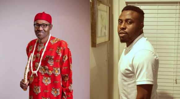 Collage photo of Samklef and president Muhammadu Buhari