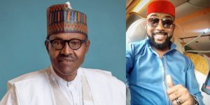 Collage photo of Buhari and Banky W
