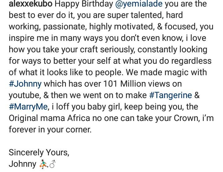 Alexx Ekubo writes Yemi Alade