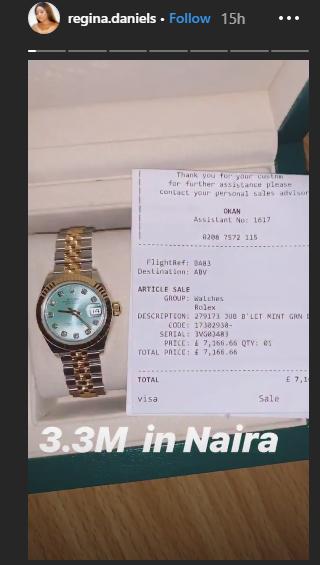 [Photos]: Regina Daniels acquires N3.3million Rolex