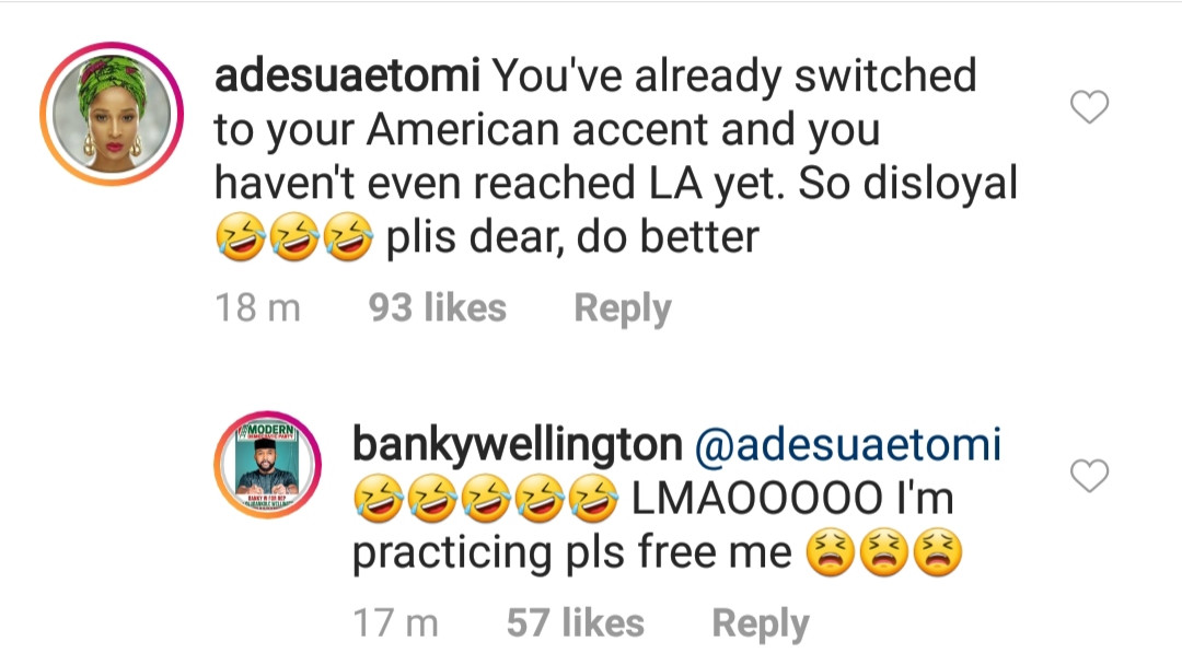 Adesua Etomi teases Banky for his American accent