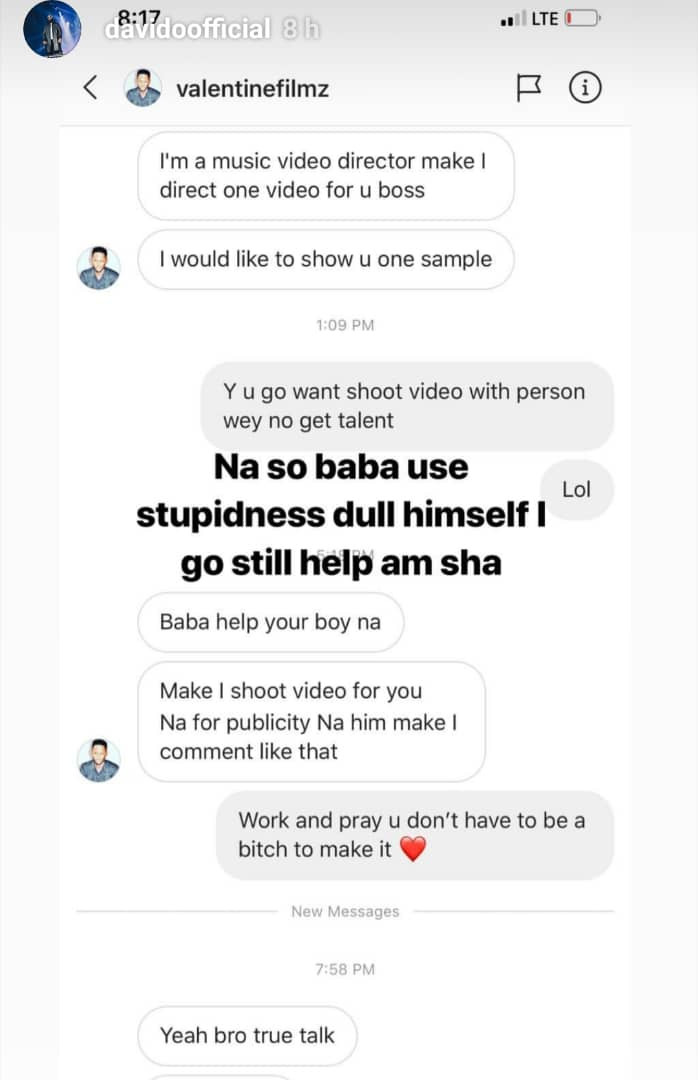 Davido calls out video director who tagged him as talentess