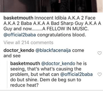 Basketmouth shades Blackface