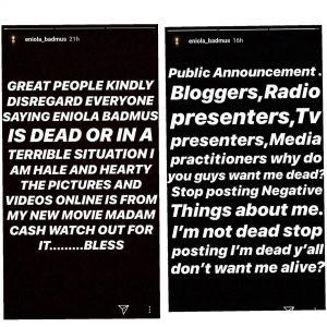 Eniola Badmus debunks death rumours
