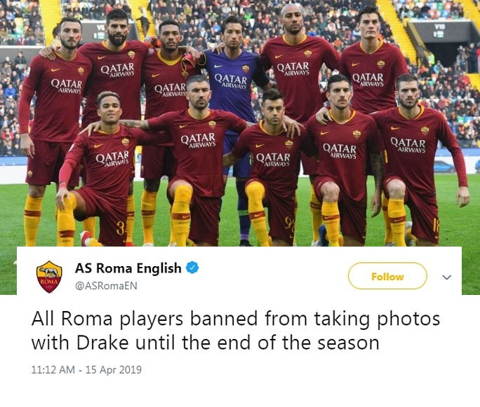 Football club ban all players from taking pictures with Drake, see why