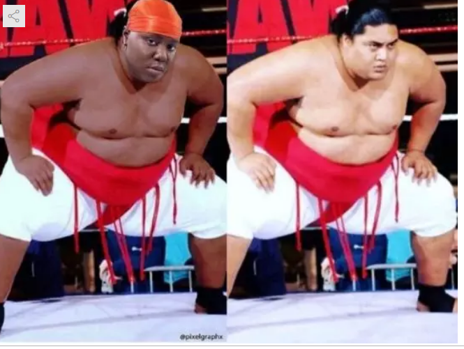 Lol, see how Teni reacted to her head been photoshopped unto the body of Yokozuna