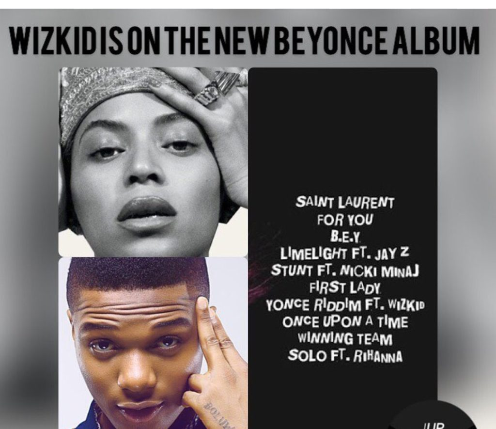 Wizkid to feature in Beyonce's new album